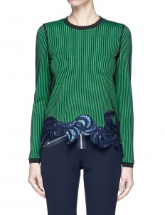 Floral sequin embroidered ottoman knit top