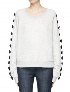 Ribbon appliqué cotton sweatshirt