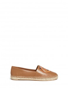 'Daley' ethnic logo stitched leather espadrilles