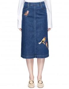 Bird embroidered denim skirt