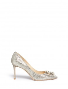 'Jasmine 85' interchangeable jewel buttons glitter pumps
