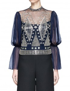 Lantern sleeve beaded sheer mesh blouse