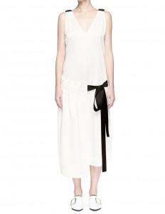 Asymmetric ruched apron midi dress