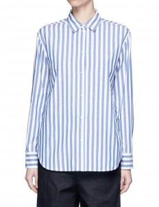 Star slogan stripe print poplin shirt