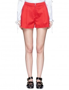 Cotton blend pleated shorts