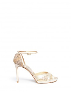 'Talia 100' metallic floral lace satin sandals