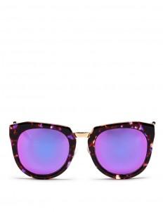 'Bunker' tortoiseshell acetate oversize angular mirror sunglasses