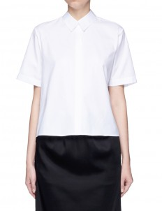 Back slit boxy cotton poplin shirt
