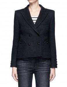 'Woodland' faux leather fringe felted wool blazer