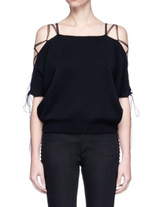 Lace-up cold shoulder cashmere sweater