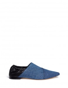 'Babouche' denim leather flats