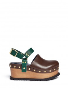 Wooden wedge stud colourblock leather clogs