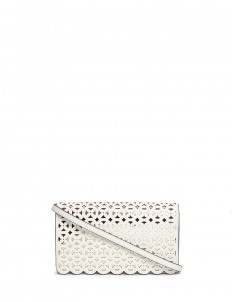 'Desi' large floral perforated leather crossbody bag
