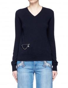 'Falabella' chain zip pocket virgin wool sweater