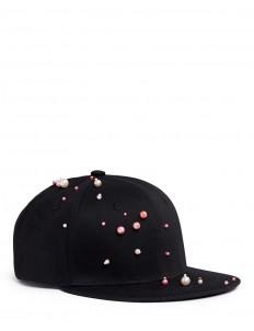 Faux pearl embellished baseball cap