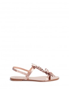 'Elita' crystal ruffle satin flat sandals