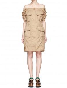 Patch pocket overdyed cotton off-shoulder dress