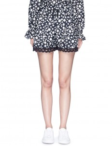 Daisy print crochet lace trim silk shorts