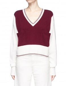 Colourblock pocket cashmere sweater