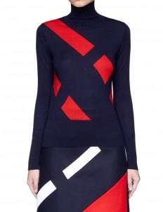 Segregated stripe wool blend sweater