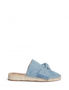 'Lynda' knotted bow denim espadrille slides