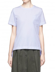 Belted pleat back collarless poplin shirt