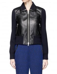Wool knit sleeve lambskin leather jacket