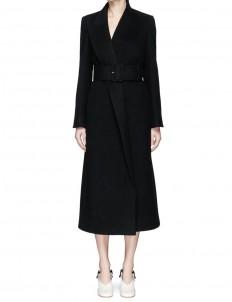 Mismatched lapel wool melton coat