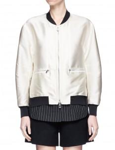 Pinstripe poplin underlay satin bomber jacket