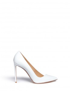 Asymmetric patent leather pumps