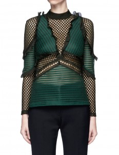 'Forest' ruffle fishnet effect mesh top