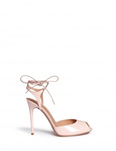 Ankle tie patent leather sandals