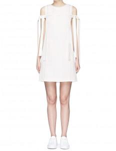 Contrast topstitch ribbon crepe sleeveless dress