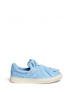 Twist bow suede slip-ons