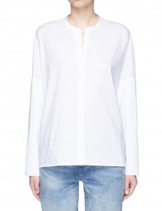 Dolman sleeve cotton blend poplin shirt