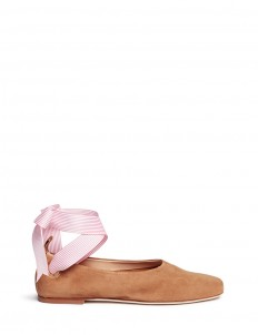 Stripe ankle tie suede ballet flats