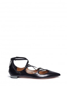 'Mischa' caged strap leather flats