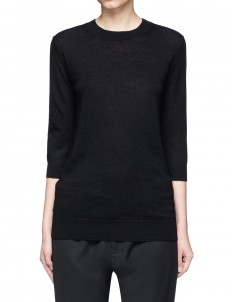 Elbow sleeve cashmere-linen sweater