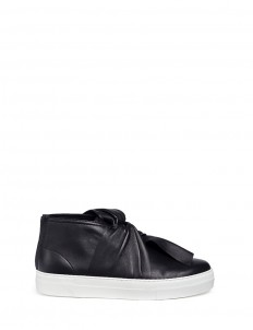 Knot vamp platform leather sneakers
