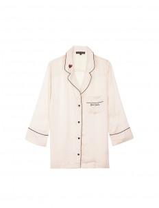 'Jude L' heart slogan embroidered satin pyjama shirt