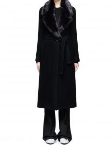 Detachable faux fur collar wool coat