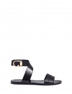 'Double-Ring' turnlock bar cross strap leather sandals