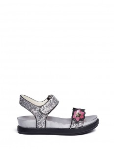 'Shine' floral sequin appliqué metallic sandals