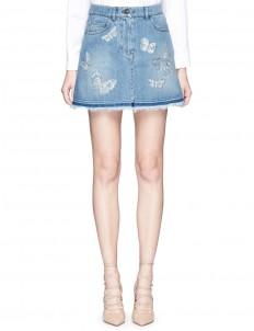 'Denimbutterfly' embroidered denim skirt
