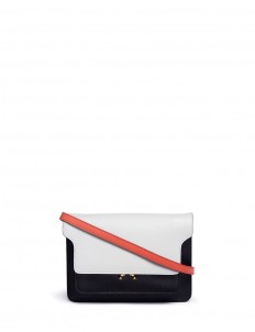 'Trunk' colourblock saffiano leather crossbody bag