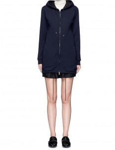 Lace lined hood zip hoodie