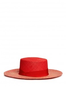 Chevron stripe toquilla straw boater hat