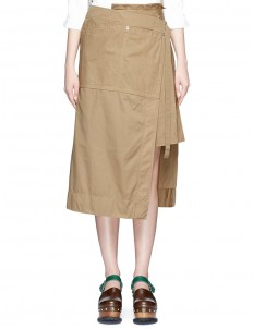 Pleated overdyed cotton wrap skirt