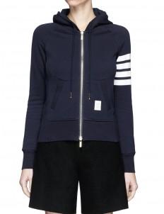 Stripe sleeve cotton zip hoodie