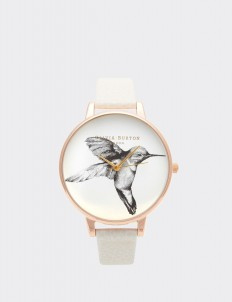 Mink & Rose Gold Hummingbird Watch